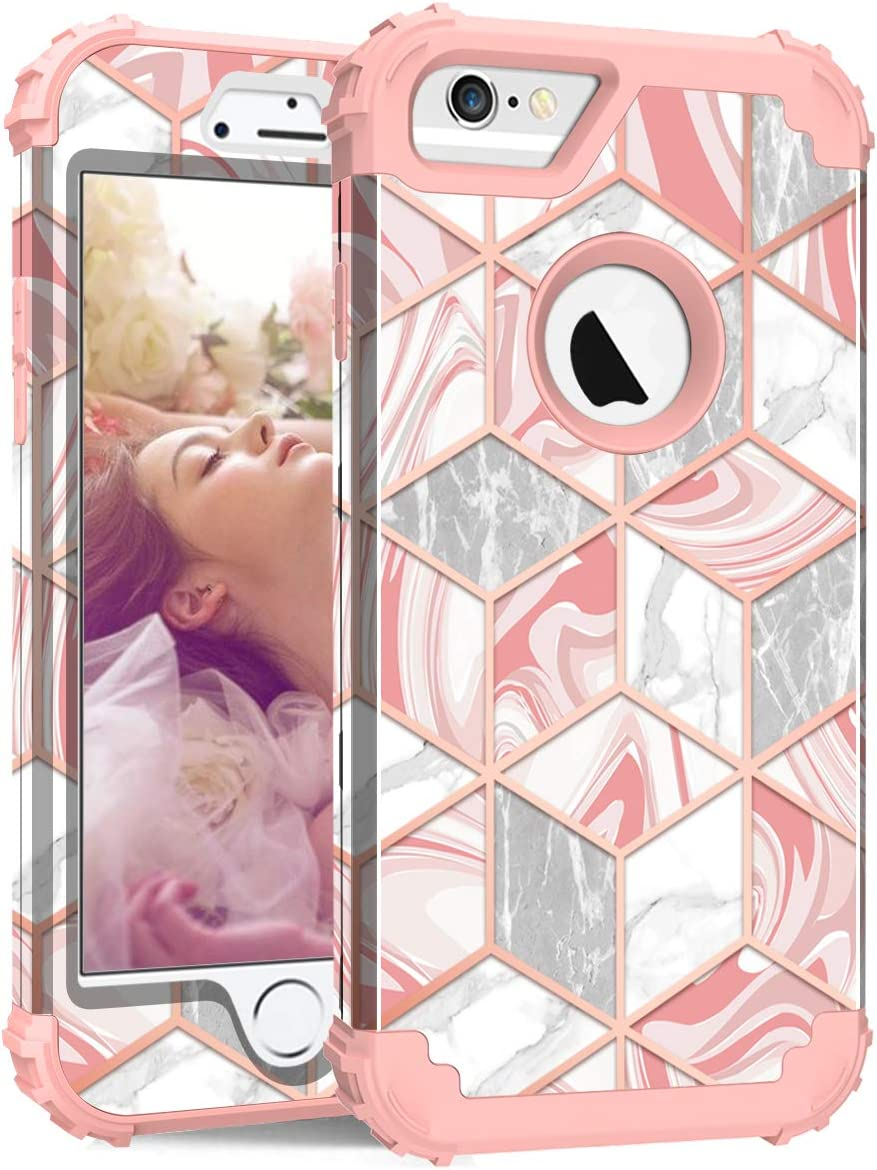 Hocase iPhone 6s Case, iPhone 6 Case, Shockproof Heavy Duty Hard Plastic+Silicone Rubber Bumper Full Body Protective Case with 4.7-inch Display for iPhone 6s, iPhone 6 - Rose Gold Line/Pink Marble