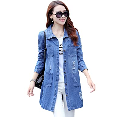 109ae810fcd5b7 Spring Autumn Long Sleeve Women Denim Jacket Frayed Jeans Jacket Female  Overcoat Jean Coats plus size