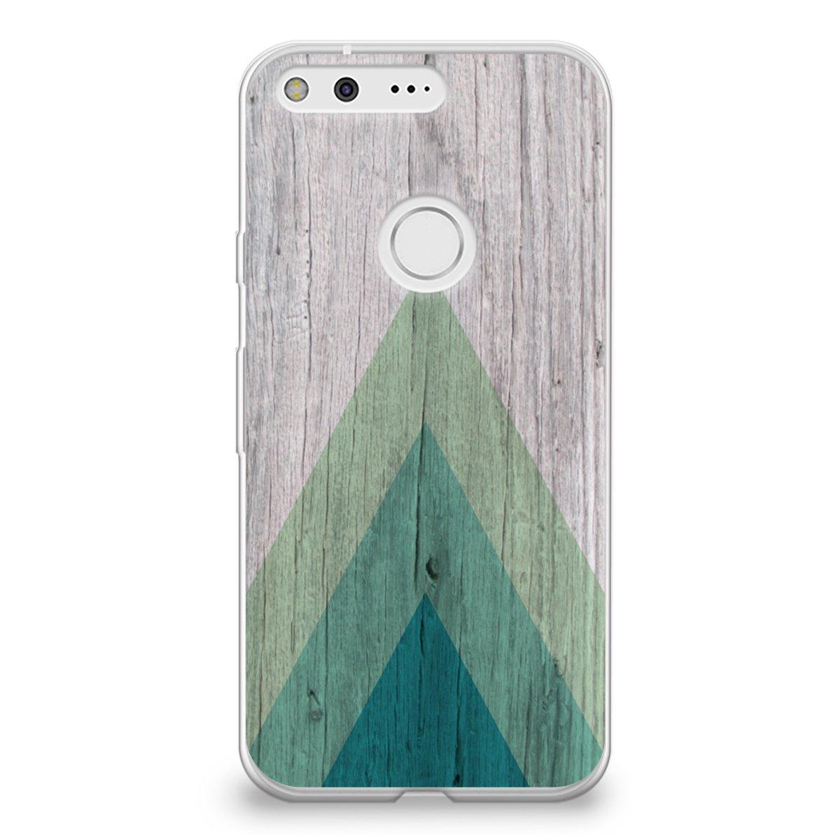 huge discount 1df4b 3cdf9 CasesByLorraine Google Pixel Case, Wood Print Geometric Triangle Pattern  Case Flexible TPU Soft Gel Protective Cover for Google Pixel (S01)