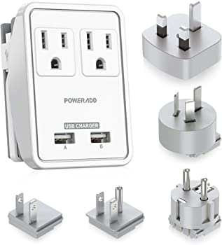 Poweradd Dual Smart USB Ports 2AC Outlets Wall Charger