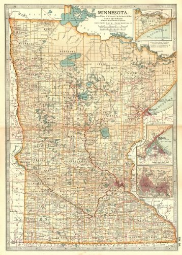 MINNESOTA. Inset Duluth Minneapolis St Paul. Indian reservations - 1903 - old map - antique map - vintage map - printed maps of - Maps Inset