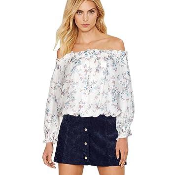 Culater® mujeres Manga larga del hombro Impresión ocasionales camisa de la blusa Tops (M