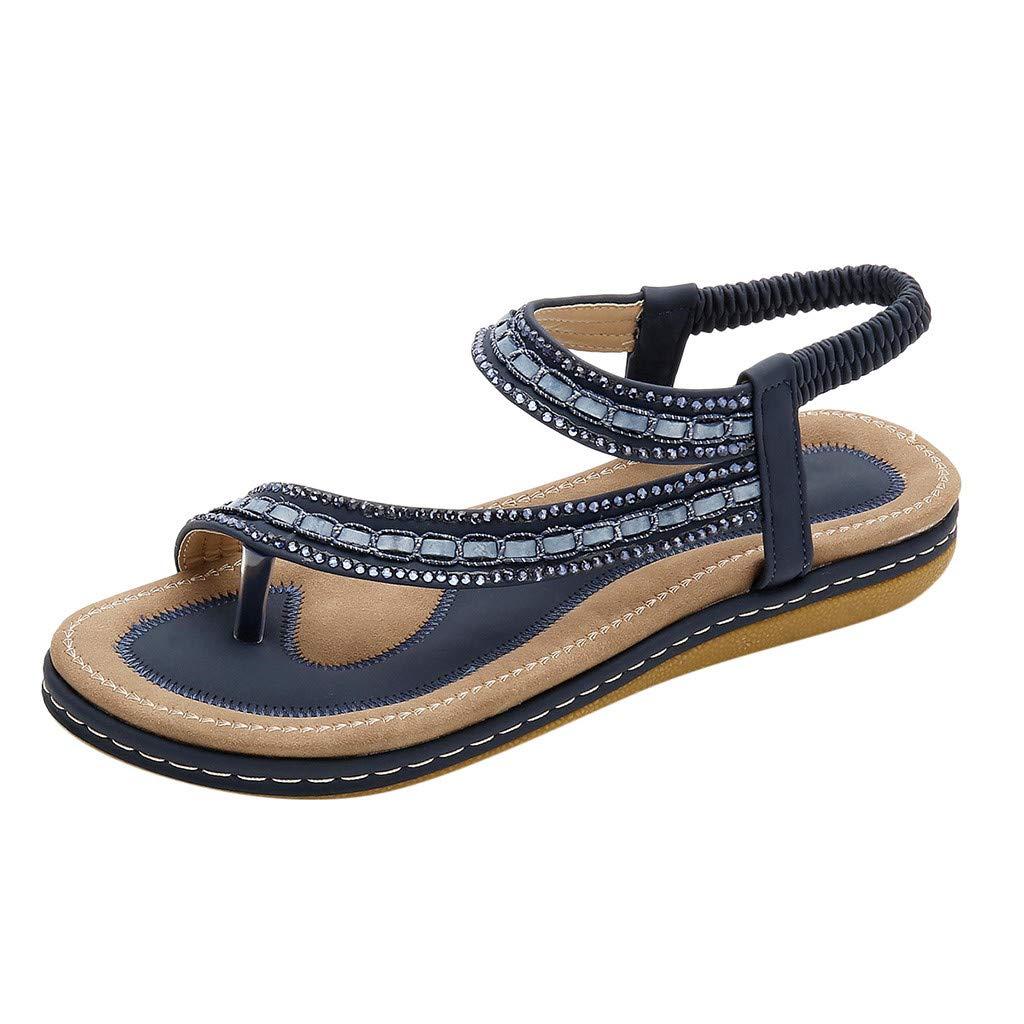 Womens Clip-Toe Rhinestone Sandals, Retro Round Tendon Soft Bottom Bohemian Elastic Band Flat Sandal Plus Size 36-43 (40, Dark Blue)