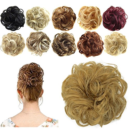 FESHFEN Synthetic Hair Bun Extensions Messy Hair Scrunchies Hair Pieces for Women Hair Donut Updo Ponytail from FESHFEN
