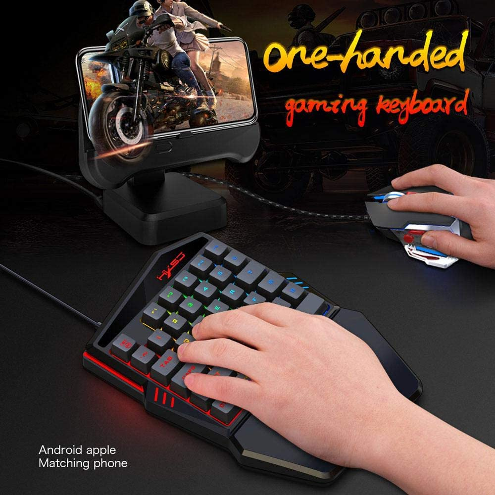 Blue Switches Professional USB Gaming Keypad with 35 Keys Backlit for LOL//Pubg//Wow//Dota//Ow//Fps Game One Handed Gaming Keyboard Peedeu Half Keyboard Wired