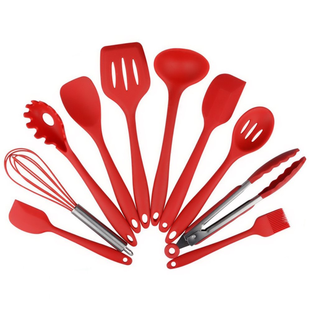 Silicone Kitchen Utensil 10 Piece Cooking Set - Turner,Large Spoonula,Small Spoonula,Basting Brush,Whisk,Pasta Fork,Spoonula,Tong,Slotted Spoon,Ladle, Easy to Use & Clean