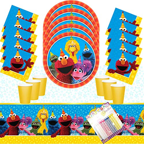 Sesame Street Party Plates Napkins Cups and Table Cover Serves 16 with Birthday Candles - Sesame Street Party Supplies Pack Deluxe (Bundle for 16)