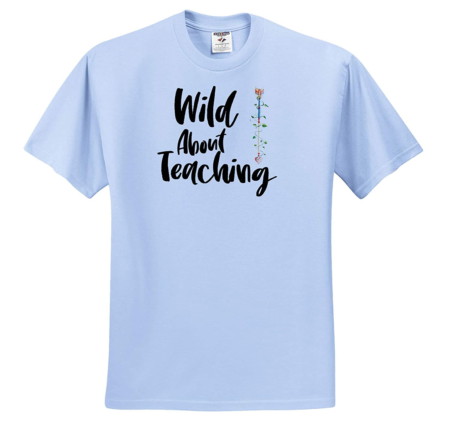 T-Shirts Quotes 3dRose Anne Marie Baugh Wild About Teaching with an Image of Watercolor Heart Arrow Design