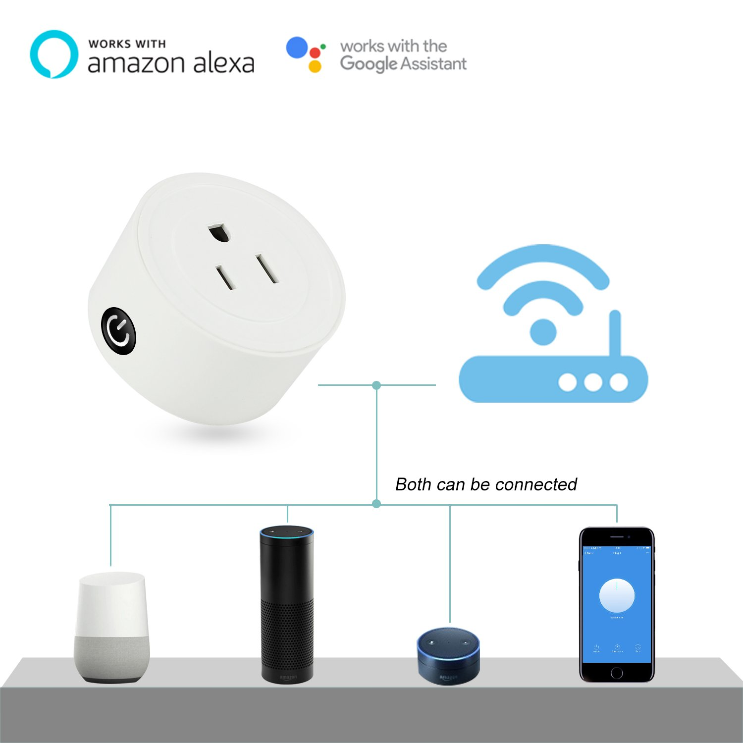 no hub required BearDot Mini Smart Plug App and voice control anywhere and anytime wifi smart home devices white fashion design as a special gift Compatible with Alexa and Google Home