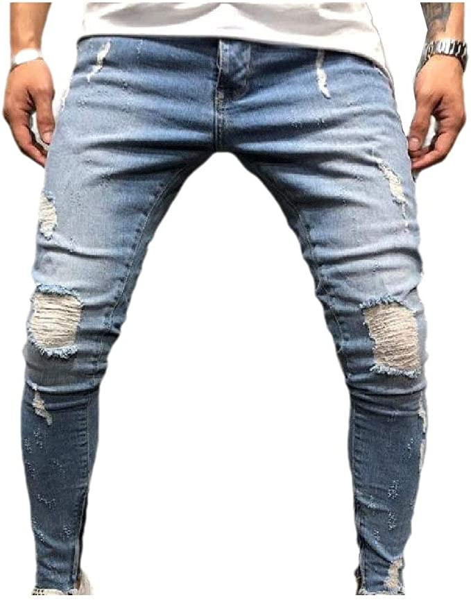 Nicellyer Mens Faded Washed Slim Teenagers Faded Mid Rise Denim Pants