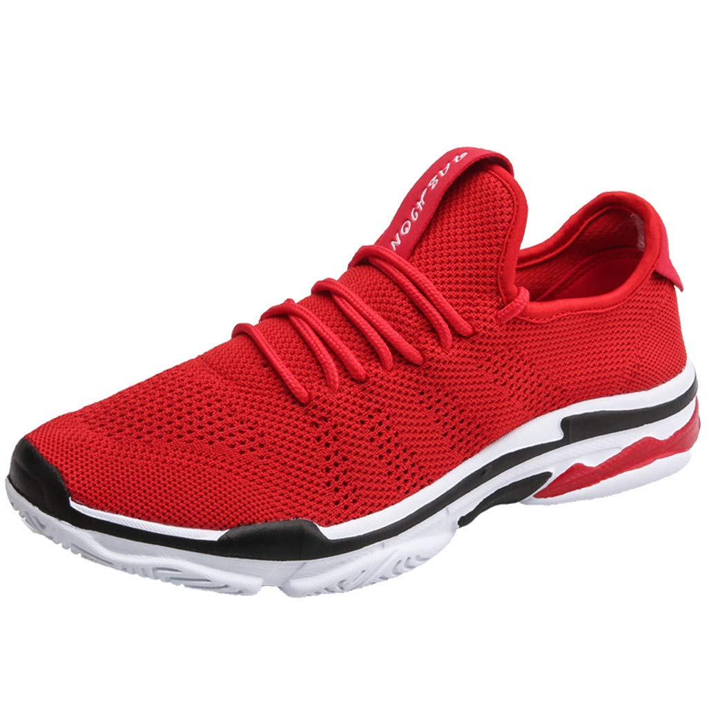 Dermanony Couple Sneakers Mens Womens Lace up Casual Shoes Mesh Breathable Durable Running Outdoor Athletic Shoes Red by Dermanony _Shoes
