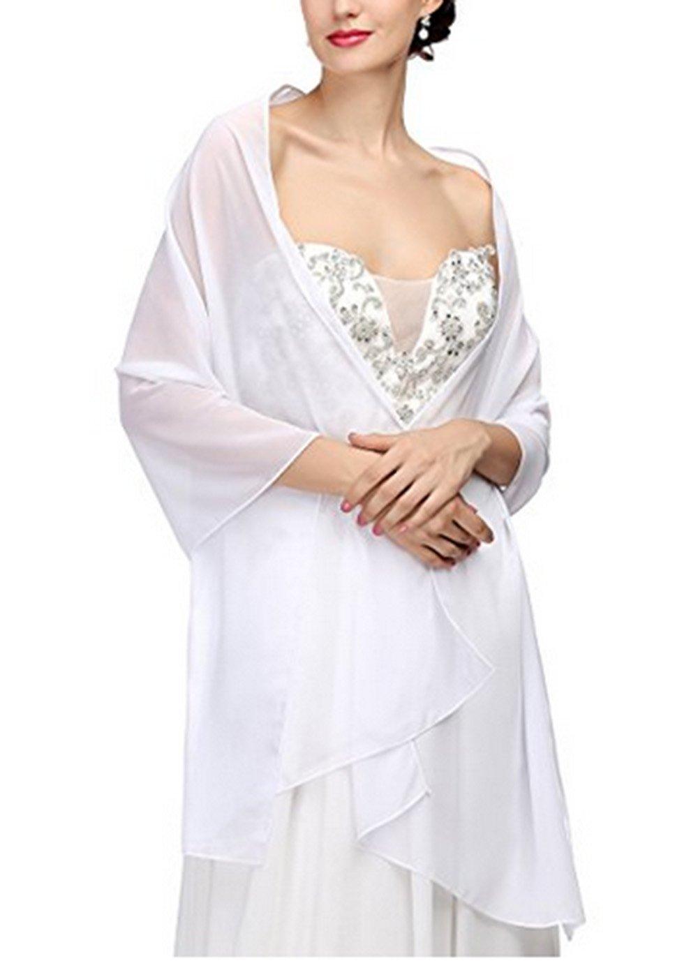 AngelaLove Chiffon Bridal Wedding Shawl Wrap Prom Evening Dress Stole Scarves (White)
