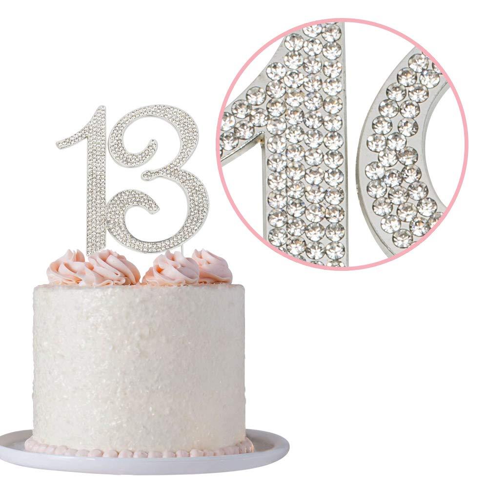 Amazon 13 Rhinestone Birthday Cake Topper Premium Sparkly