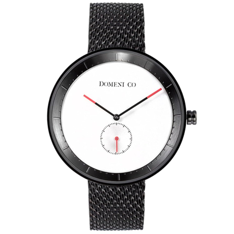 domeni CO BLM01 Unisex Signature Series Edelstahl schwarz Mesh Armband Weiß Zifferblatt Uhr