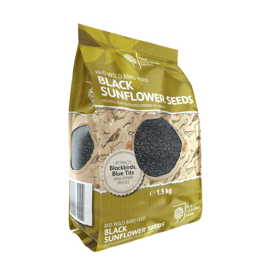RHS Wild Bird Feed Black Sunflower Seeds-1.5KG, AGROS Trading