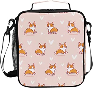 Lunch Box Bag Insulated Lunch Tote Cute Corgi Dog Pink Background Thermal Cooler Shoulder Strap Portable Food Container Travel Office School Picnic For Women
