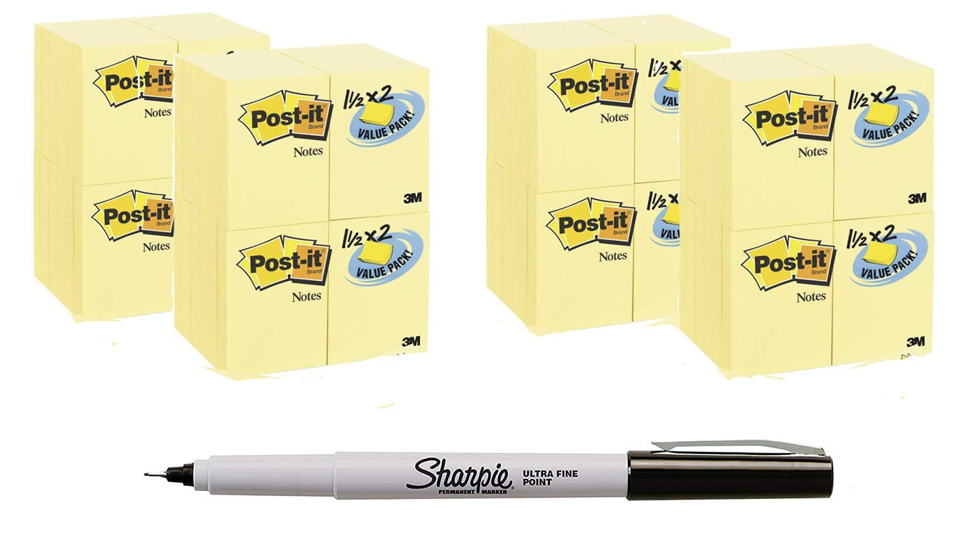 Post-its Notes Value Pack, 1-1/2 x 2-Inches, Canary Yellow PLMJP, 96-Pads/Pack Bundle Bonus Sharpie Permanent Marker by Post-it (Image #1)
