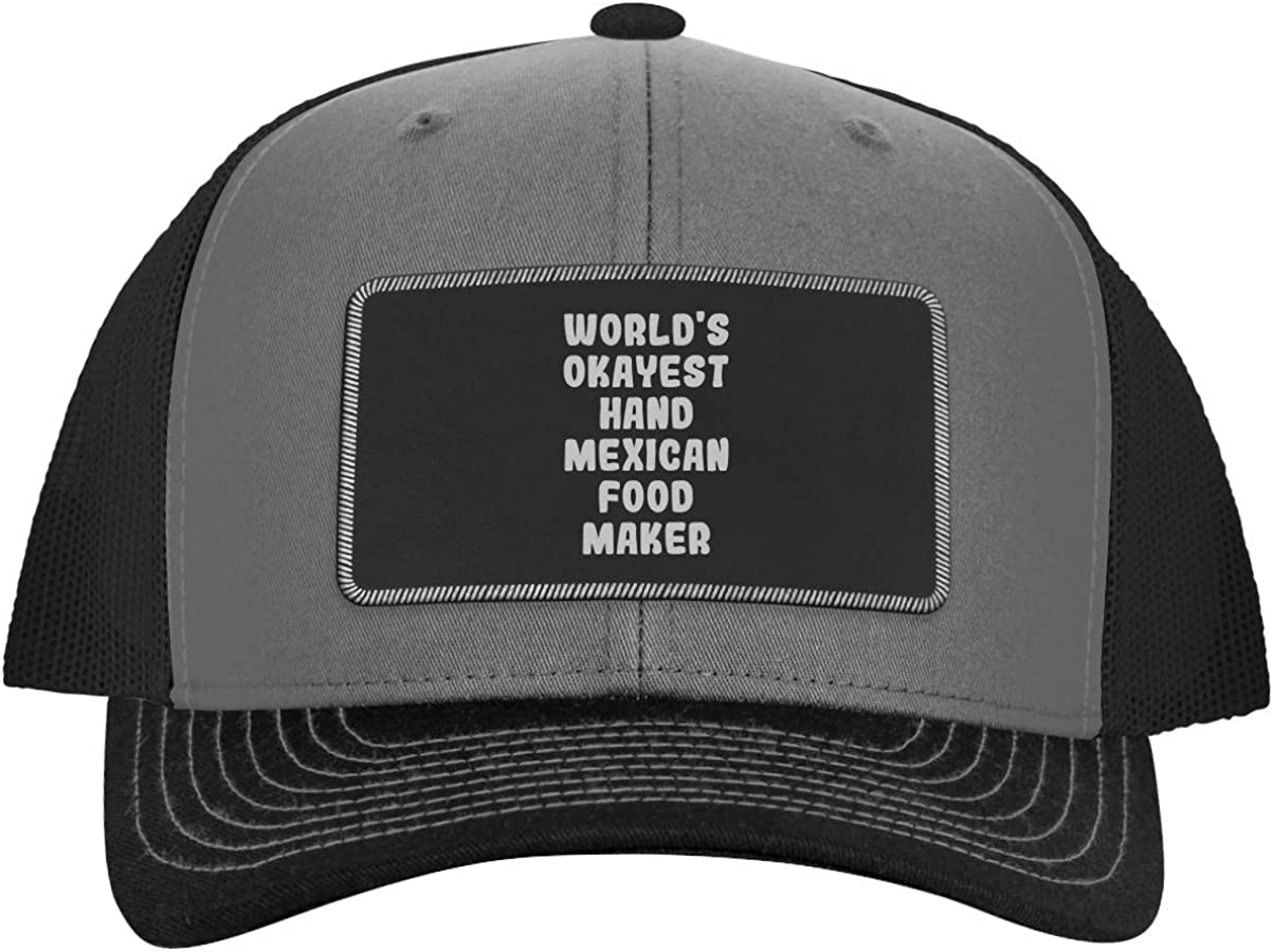 World's Okayest Hand Mexican Food Maker - Leather Black Patch Engraved Trucker Hat