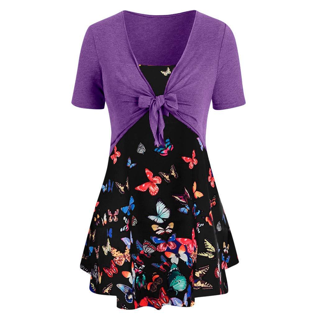 Sunyastor Women's T-Shirt Short Sleeve Bow Knot Bandage Top Sunflower Print Tank Blouse Suits T-Shirt for Summer Purple