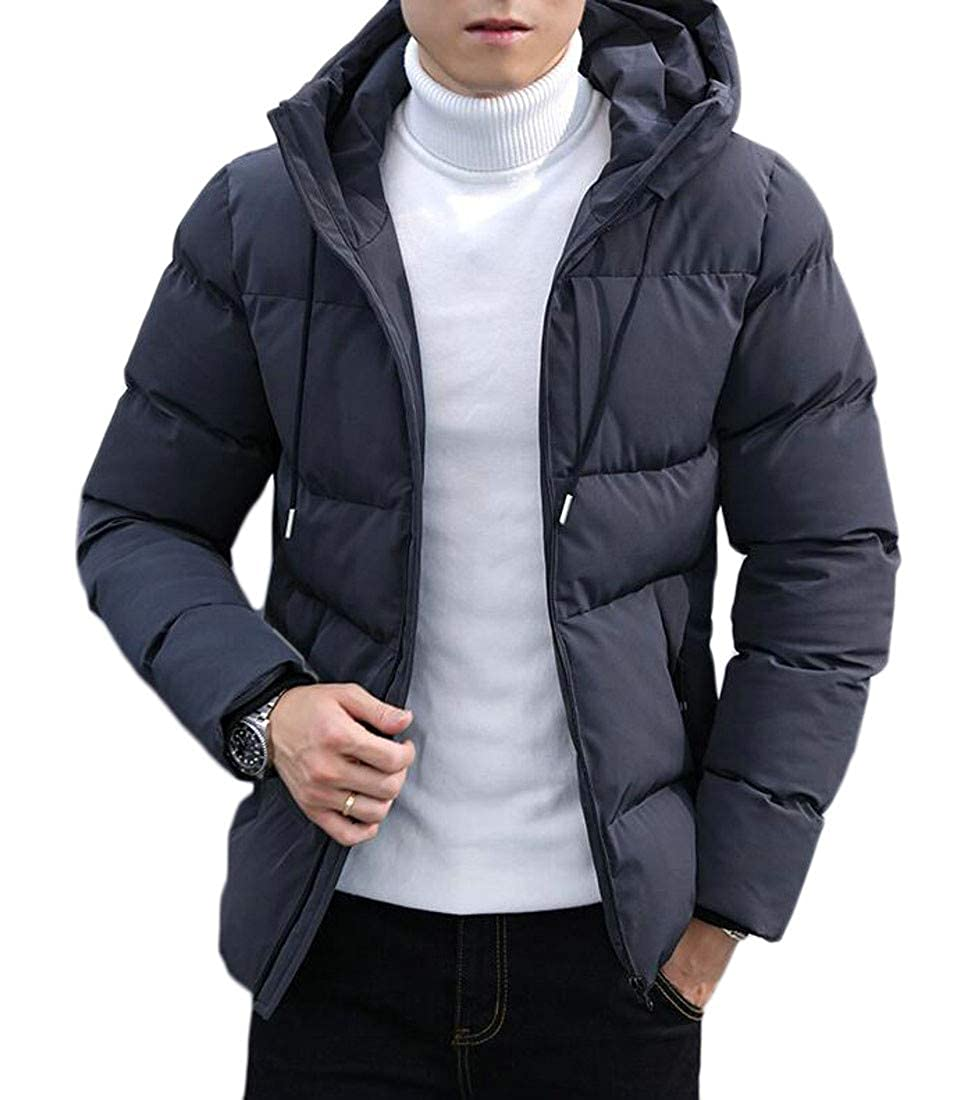 Etecredpow Mens Casual Zipper Up Cotton Padded Hooded Puffer Parkas Jacket