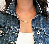 14k Solid Gold bar necklace, 45mmx4mm, Bar Necklace, Bar Necklace / Personalized Bar Necklace, Monogram Gold Name Bar, Engraved