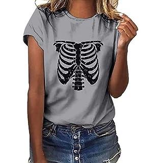 Siswong Maglietta Donna Elegante Tumblr Ragazza Magliette Donna Maniche Corte Divertenti Vintage T-Shirt Donna con Stampa Cranio Estive Tops Bluse e Camicie Donna Moda Camicetta