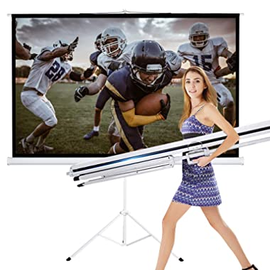 TV Projector Screen with Stand 100 Inch 16:9 HD Foldable Tripod Movie Screen for Home Theater Cinema Wedding Party Office Presentation