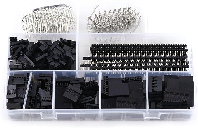 1450 St/ücke 2,54mm Verbindungsstecker Pitch Pin Dupont Crimp Header steckergeh/äuse Jumper Draht Kabelstecker M/ännlich-Weibliche Verbinder Sortiment Kit