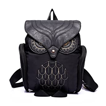 Amazon.com | Estwell Women PU Leather Owl Backpack Handbag Casual Daypack Shoulder Bag Travel Rucksack, Black | Backpacks