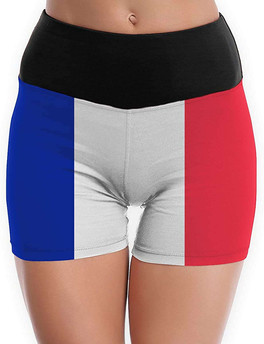 LDGT@DU Womens Yoga Shorts France Flag High-Waist Flex Yoga Shorts