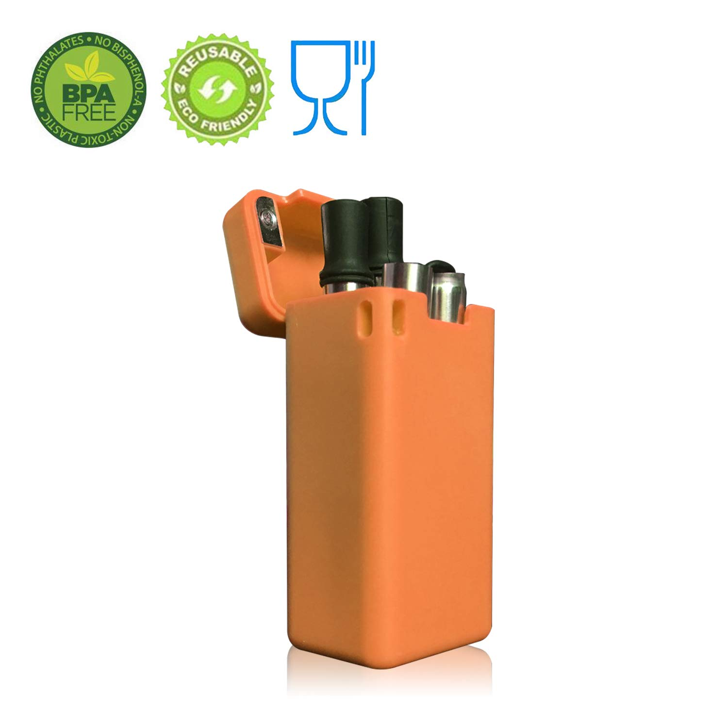Collapsible Reusable Stainless Straw Comparable with Final Straw Medical-Grade Food-Grade Raw Material Portable Folding Drinking Straw with Hard Case Cleaning Brush (Orange)