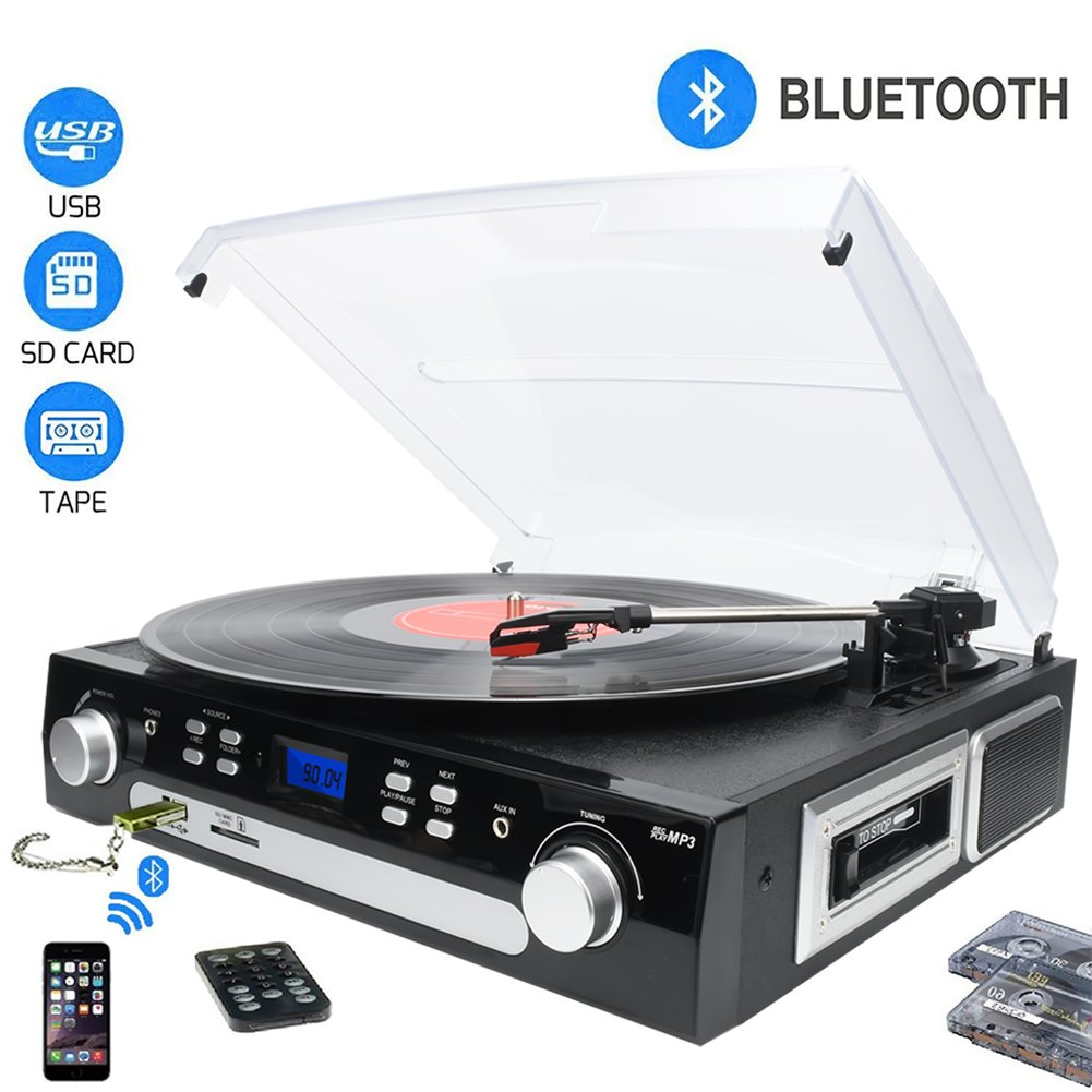 DIGITNOW! Tocadiscos Bluetooth plato giradiscos Cassette AM FM Radio MP USB SD