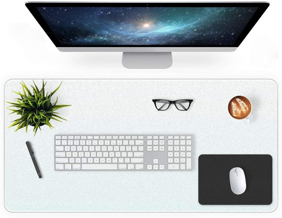Desk Pad Blotter 16 X 32 Inch Office Matte Desk Mat Protector on Top of Desks Laptop Computer Keyboard Desktop Cover Waterproof Plastic Clear Desk Writing Mat Vinyl PVC Desk Table Pad with Mouse Pad