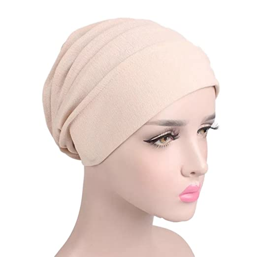 MOMEPE Pleated Slouchy Turban Headscarf Chemo Hat with Cancer Hair Loss  Beige 2d4d69ab926