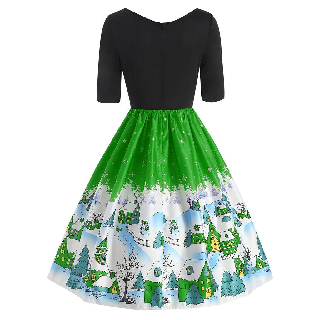LOPILY Santa Claus Print Retro Swing Cocktail Party Dress Christmas Womens Ball Gown Half Sleeves A Line Evening Dresses Evening Gowns