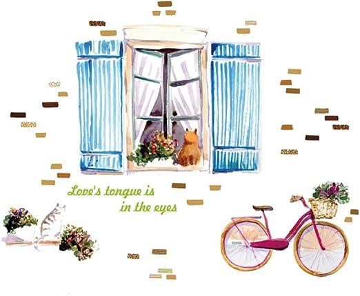 3D Acuarela Gato Bicicleta Pintura Pegatinas de Pared Sala de ...