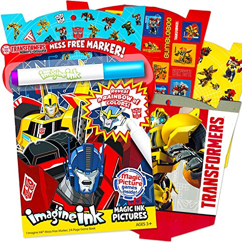 Transformers Imagine Ink Coloring Book Super Set with Over 300 Transformers Stickers (Includes Mess-Free Marker)