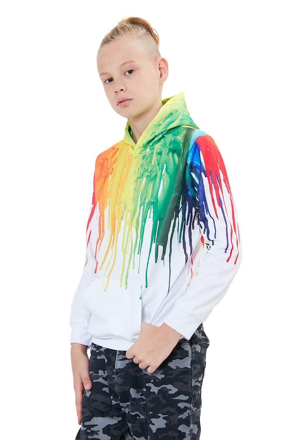Unisex Teens Girls Boys Hoodies Hip Pop Hoody 3D Splash Rainbow Ink Novelty Pullover Long Sleeve Front Pocket Sweatshirt for Party Sports School Medium 5-6 Years