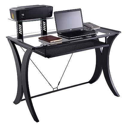 Nuevo escritorio de ordenador PC portátil mesa tapa de cristal w ...