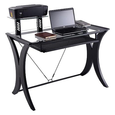 Nuevo escritorio de ordenador PC portátil mesa tapa de cristal w/impresora estante estación de
