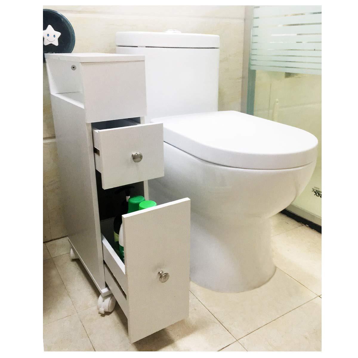 ease Mueble de baño con Ruedas con 2 cajones Carro de Almacenamiento de Cocina de Madera Mueble de baño 15 × 33 × 66.5 CM Blanco: Amazon.es: Hogar