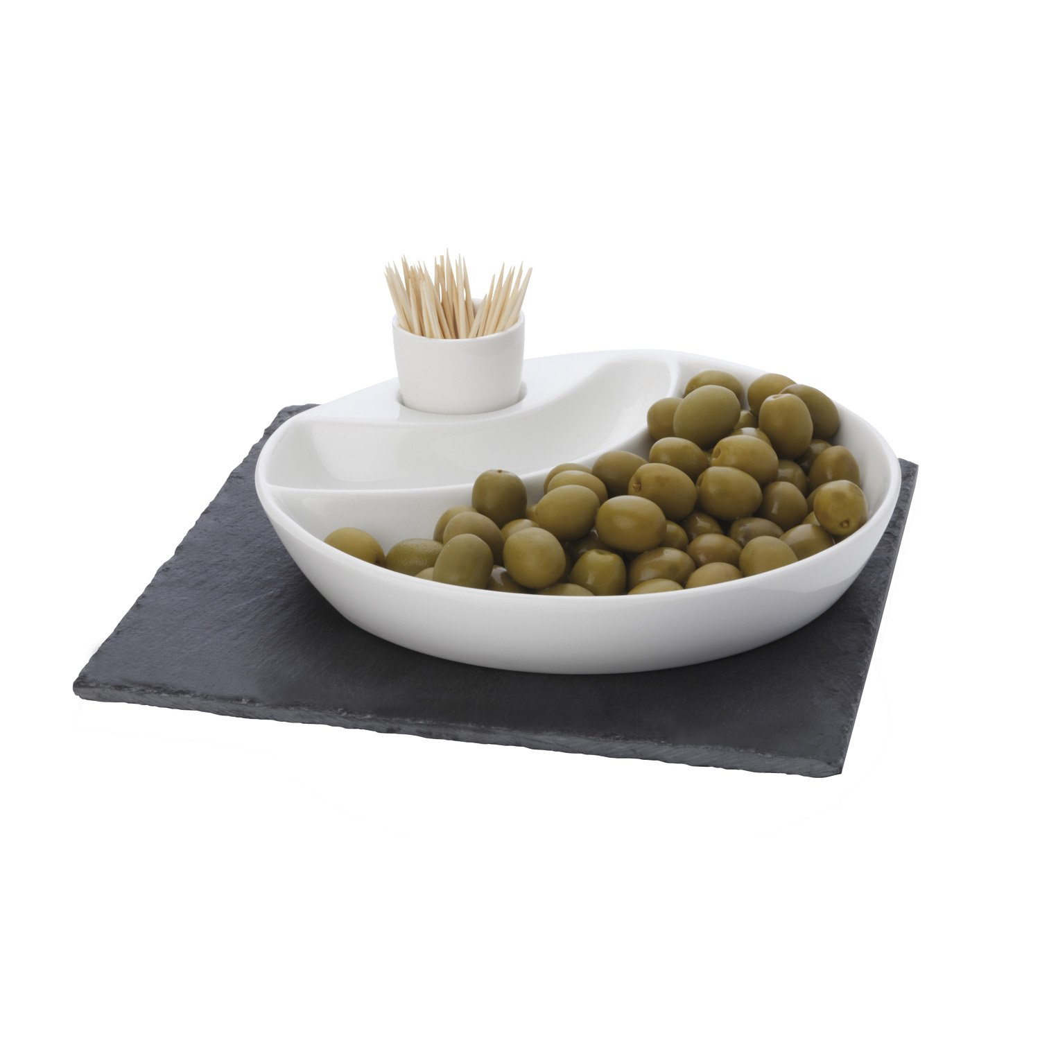 Maxwell and Williams Basics Slate 3-Piece Square Olive Dish, White Fitz and Floyd LH9006