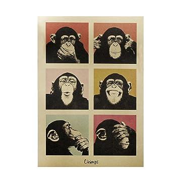 Haihuic Cartel Antiguo de Estilo Antiguo Imprimir Papel Kraft Vintage Arte de la Pared para la decoración casera Café Retro Bar 51.5 × 36 cm Gorila