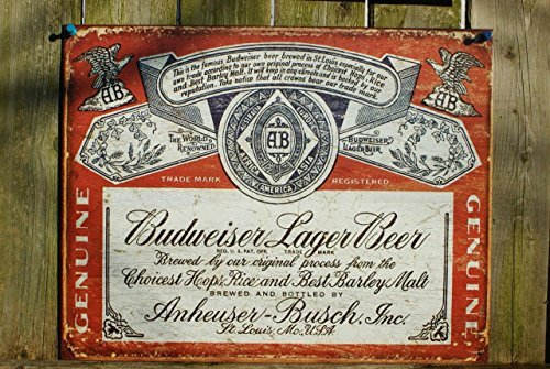 Budweiser Historic Label Distressed Retro Vintage Tin Sign , 16x13 by Poster Discount (Sign Tin Label Budweiser)