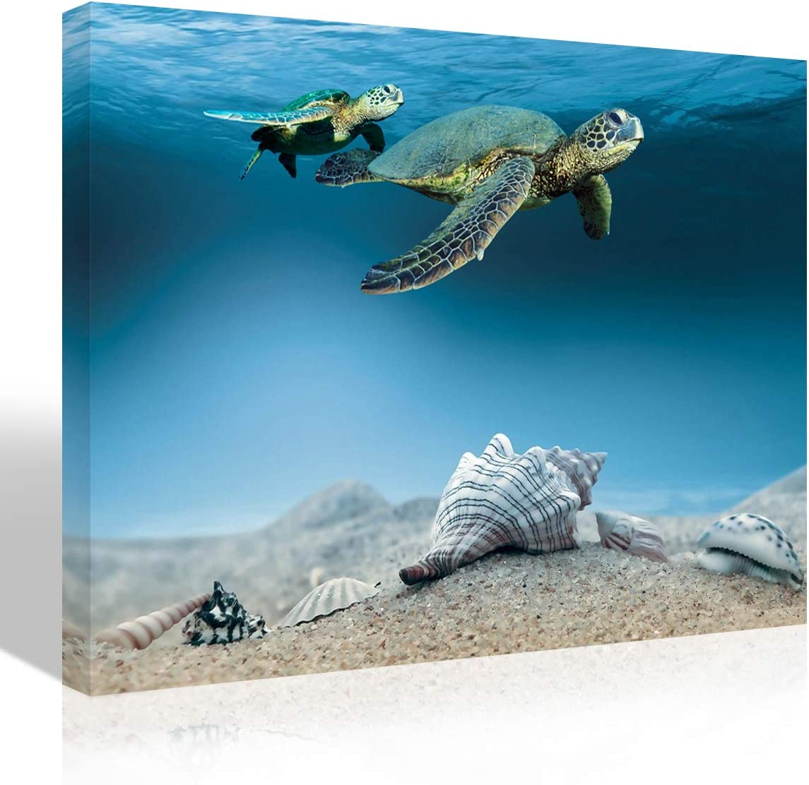 Purple Verbena Art Sea Conch Shell Starfish Turtle Canvas Print Art Picture Painting Blue Ocean Nature Seascape Photo Wall Art Home Decoration for Living Room Bedroom Wall Décor,Framed 10x14 Inches
