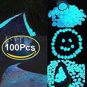 100piezas brilla en la oscuridad piedra decorativa para pasillo, jardín y Fish Tank, funciona con luz solar y (azul)