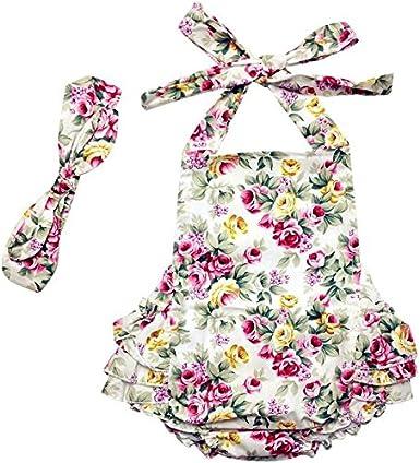 Baby Girls Summer Ruffles Romper 2pcs Sets Outfits