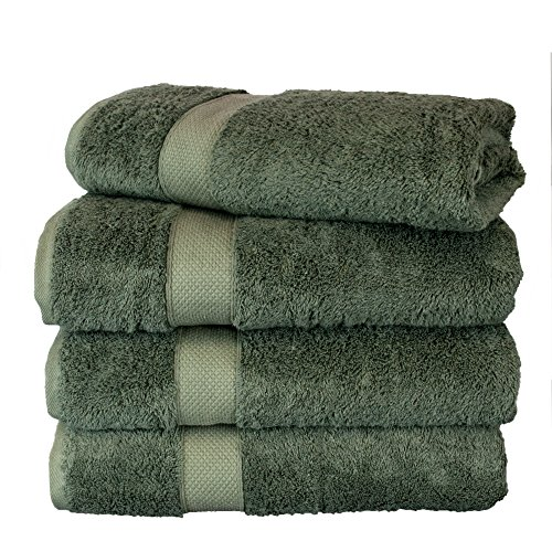 Collection 4 Piece Spa Home (BC BARE COTTON Luxury Hotel & Spa Towel Turkish Cotton Rayon Bath Set of 4, Moss, 4 Piece)