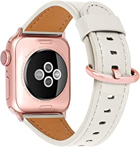 HUAFIY Compatible iWatch Band 42mm 44mm, Top Grain Leather Band Replacement Strap iWatch Series 6/ 5/ 4/ 3/2/1,SE,Sport, Edition(Creamy White Band+rose gold42mm44mm)