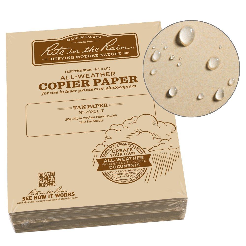 Rite in the Rain Weatherproof Bulk Copier Paper, 8 1/2'' x 11'', 20# Tan, 500 Sheet Pack (No. 208511T)